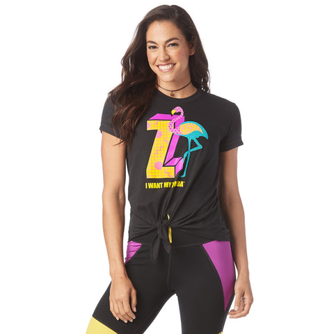 I Want My Zumba Tie Front Top