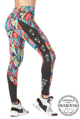 Zumba Panel Ankle Leggings With Swarovski Crystals