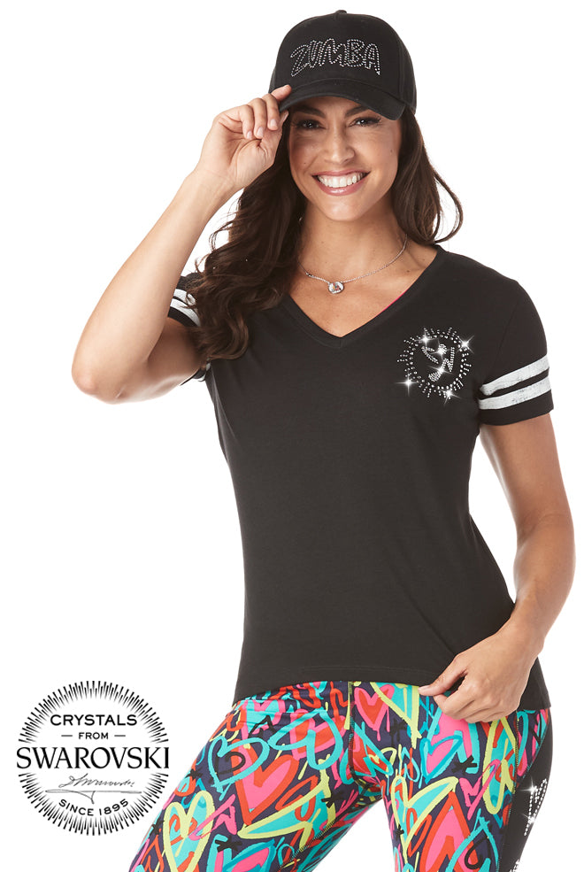 Zumba V Neck Top With Swarovski Crystals