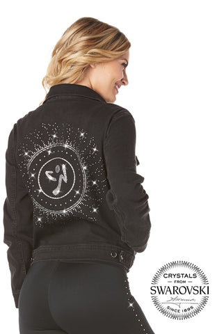 Zumba Black Denim Jacket With Swarovski Crystals