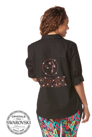 Zumba Button Down With Swarovski Crystals