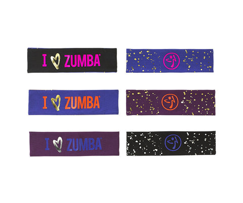 I Love Zumba Reversible Headbands 3pk