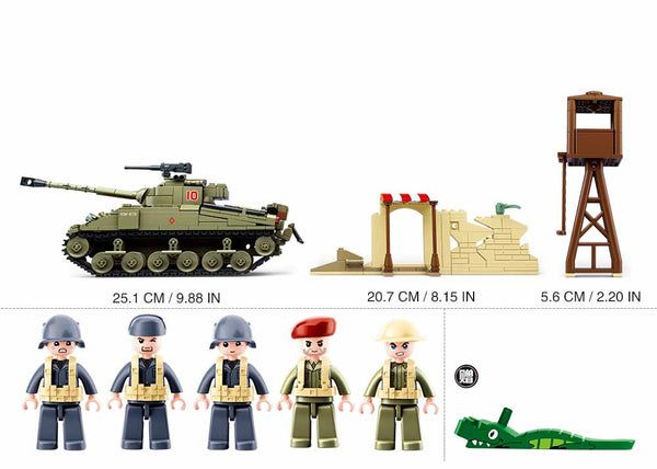 Sluban WWII Sherman Firefly Battle Tank  - 790 Pieces - M38-B0713