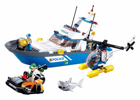Police Rescue Patrol Boat and Helicopter B0657