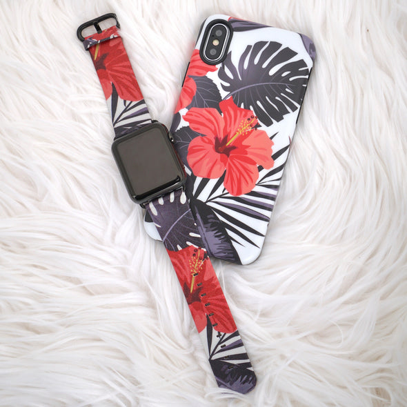44mm & 42mm Vegan Leather Apple Watch Band - Phantom Hibiscus - Elemental Cases