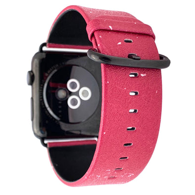 44mm & 42mm Vegan Leather Apple Watch Band - Raspberry - Elemental Cases