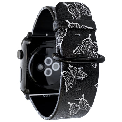 40mm & 38mm Vegan Leather Apple Watch Band - Butterfly