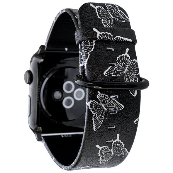 44mm & 42mm Vegan Leather Apple Watch Band - Butterfly