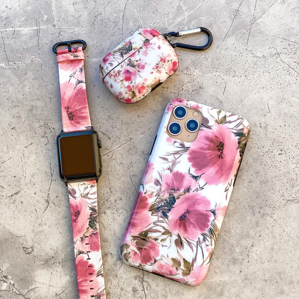 44mm & 42mm Vegan Leather Apple Watch Band - Coral Meadow