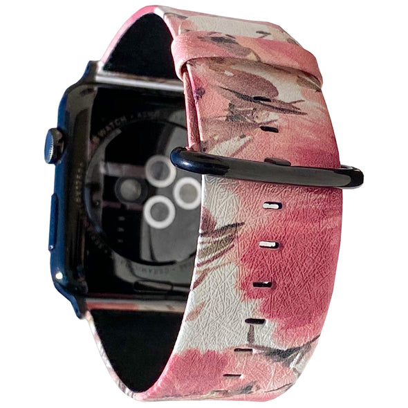 40mm & 38mm Vegan Leather Apple Watch Band - Coral Meadow