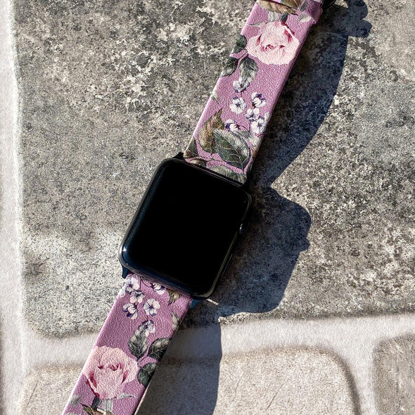 44mm & 42mm Vegan Leather Apple Watch Band - Faded Rose