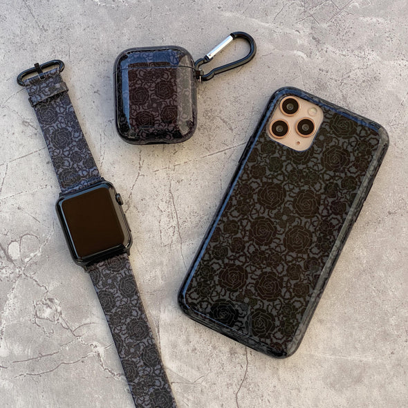 44mm & 42mm Vegan Leather Apple Watch Band - Goth Rose