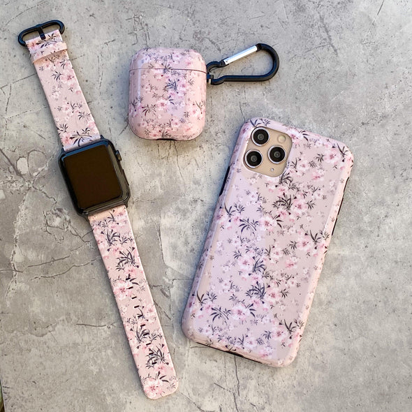 44mm & 42mm Vegan Leather Apple Watch Band - Sheer Floral