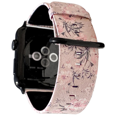 40mm & 38mm Vegan Leather Apple Watch Band - Sheer Floral