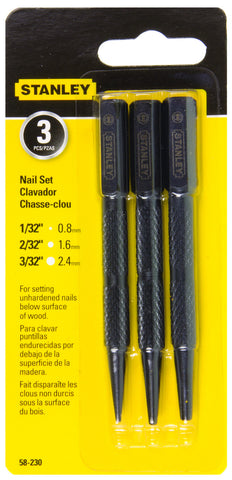Stanley Steel Nail Punch 3 Pack Imperial