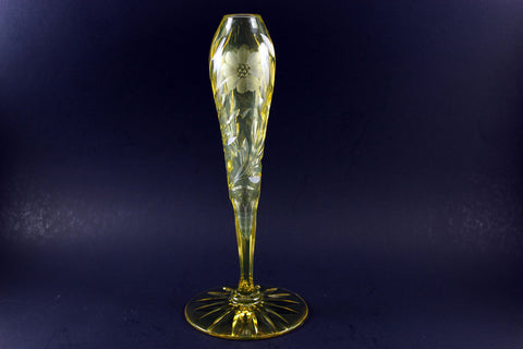 Rare Yellow Cut Glass Bud Vase ABP McKee