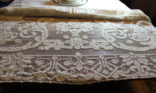 Antique, Handmade Linen and Lace Tablecloth