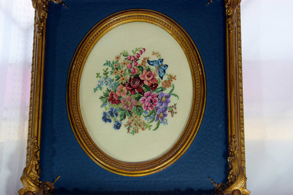 Floral Petit point in Antique Carved Wood Frame