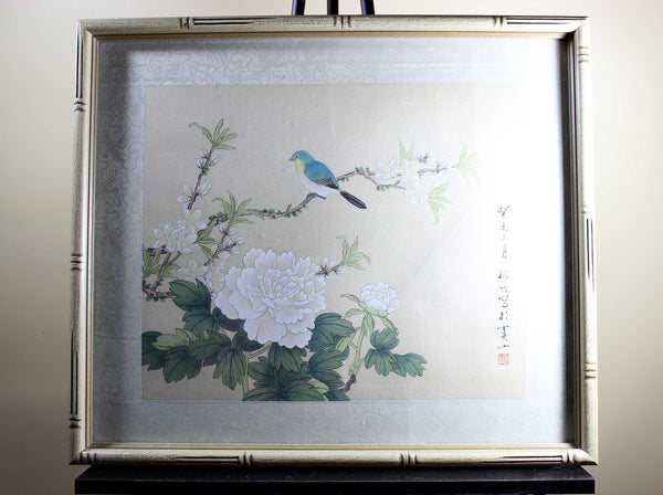 Asian Ink Wash Painting, Blue Bird