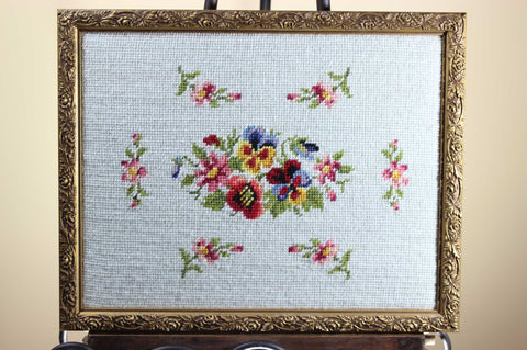 Vintage Hand Made Needlepoint Floral Framed
