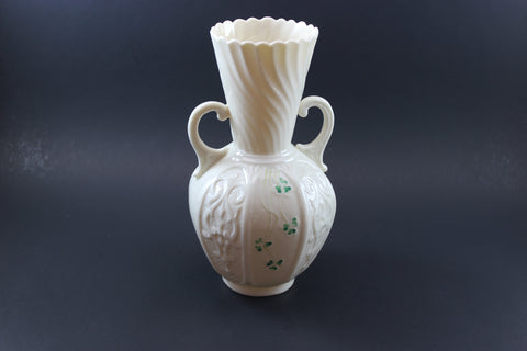 Belleek twin handled shamrock vase