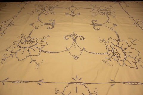 Hand Embroidered Tablecloth - Blue and White