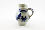 Blue and Grey Vintage Stoneware Pitcher, Salt Glazed, Schilz, Germany