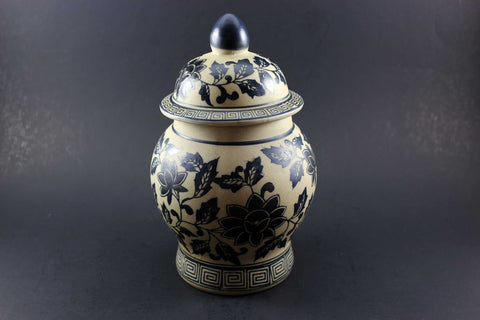 Blue and Grey Hand Painted Pottery Urn
