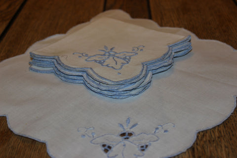 Blue Embroidered Linen Luncheon Napkins