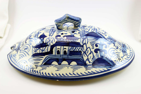 Canton Tureen Lid, Blue and White-19th Century