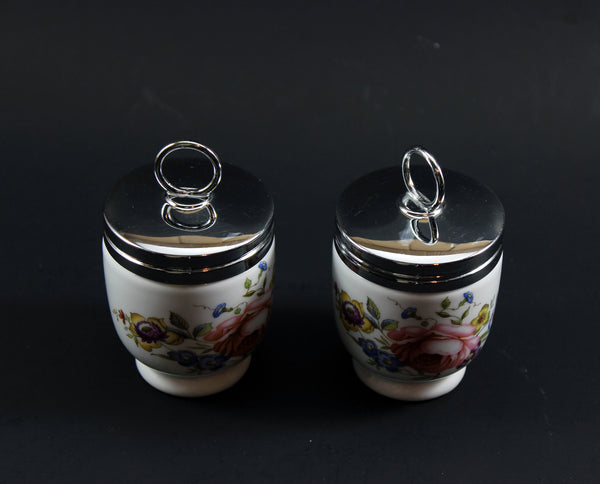 Royal Worcester Egg Coddler, Bournemouth Rose Pattern (2)