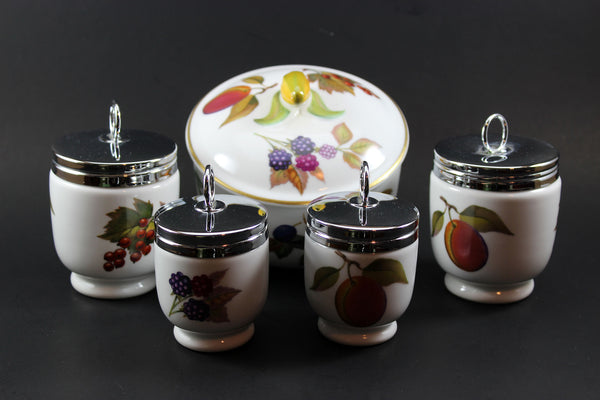Royal Worcester Evesham Covered Dish & Egg Coddlers