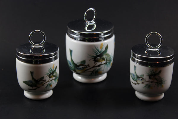 Royal Worcester Egg Coddlers, Wren and Finches Birds