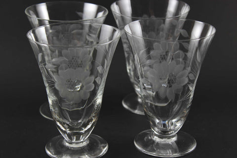 Hughes Cornflower Crystal Parfait Glasses Optic