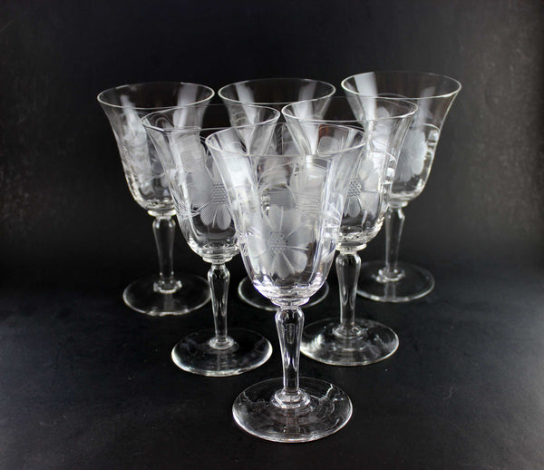 Hughes Cornflower Crystal Water/Red Wine Goblets