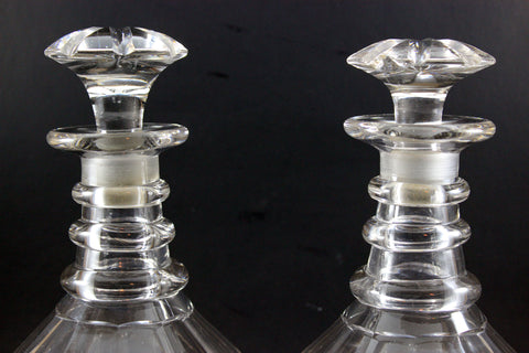 Antique Cut Glass Decanters, Original Stoppers, Sterling Labels