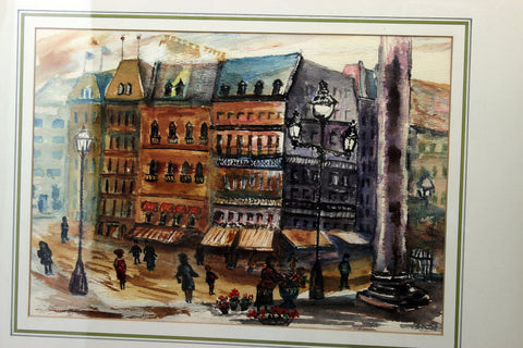 F.A. Sibbert-Main Street Corner-Original Watercolour