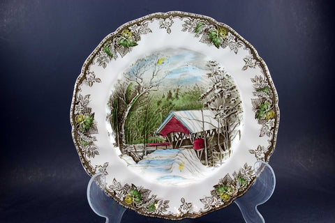 The Friendly Village, Johnson Brothers, Large Dinner Plate-Covered Bridge