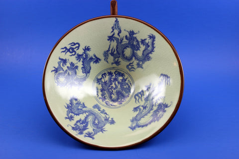 Grey and Blue Antique Chinese Dragon Bowl-Top