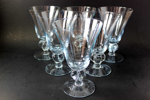 Gulli Blue Crystal Water Goblets, Swedish