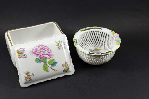 Herend, Hand Painted Trinket and Pin Dish