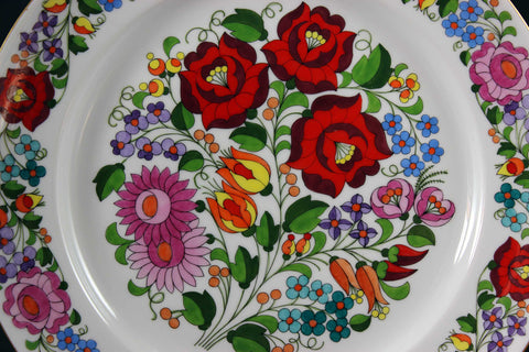 Kalocsa Hungary, Handpainted Wall Plate, Traditional Pattern