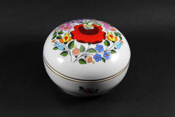Kalocsa Hungary, Handpainted Trinket Box, Traditional Pattern