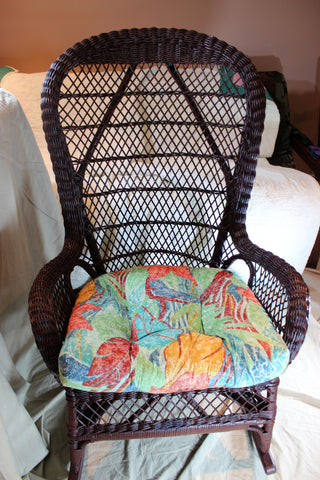 Wicker Rocking Chair with cushion, Vintage