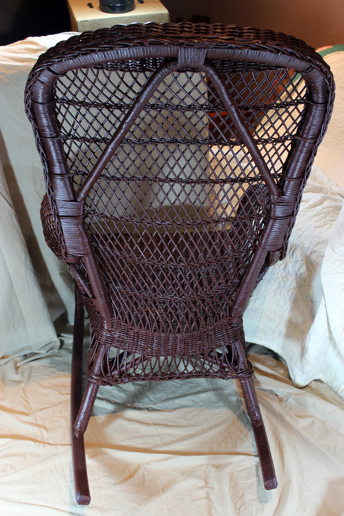 Wicker Rocking Chair With Cushion Vintage