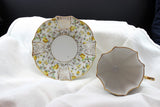 Fancy teacups & saucers, china, unmarked (2)