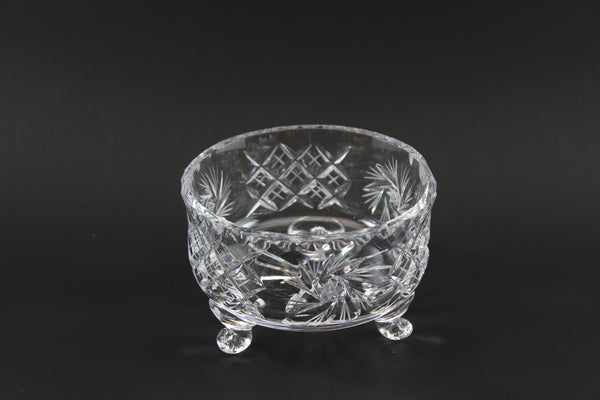 Czech Bohemia Pinwheel Crystal, Three footed bowl