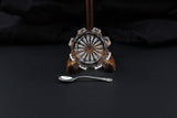 Salt cellar/open salt w sterling silver spoon. Antique