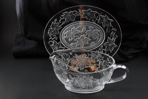 Princess House Crystal - Glass Gravy Boat & Under plate
