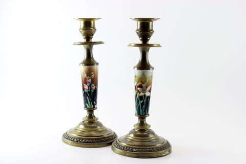 Victorian Brass and Porcelain Candlesticks